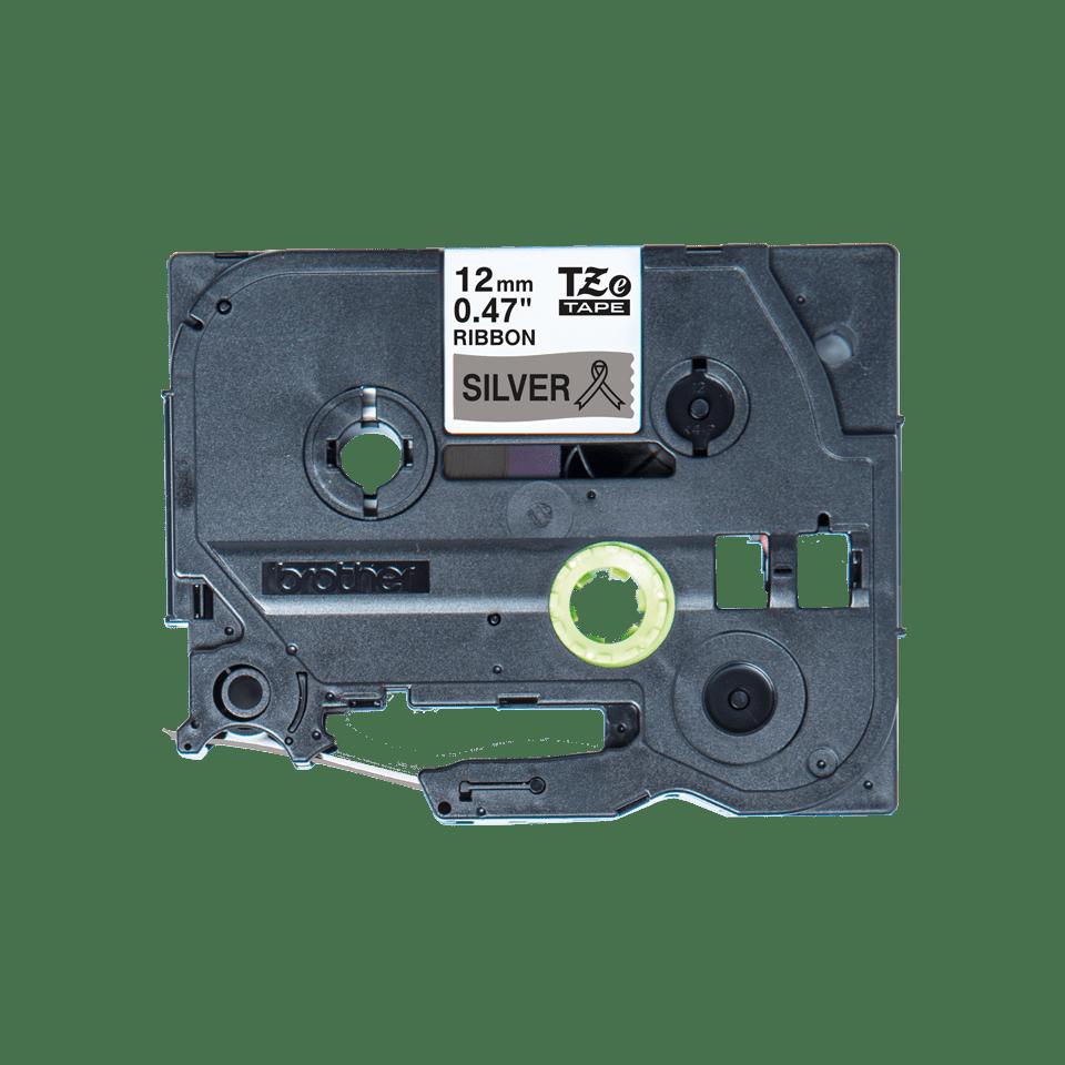 Alkuperäinen Brother TZeR931 -satiininauha – musta teksti hopeanvärisellä nauhalla, 12 mm 5