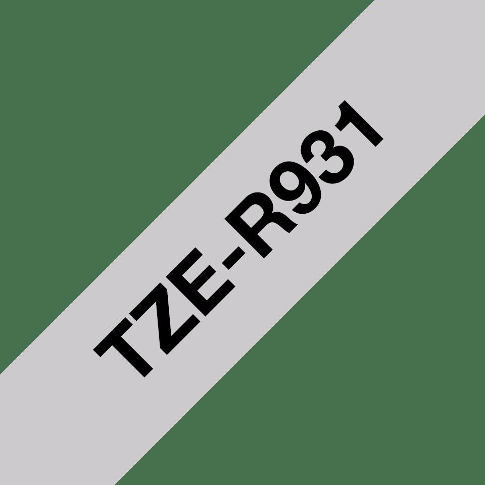 Alkuperäinen Brother TZeR931 -satiininauha – musta teksti hopeanvärisellä nauhalla, 12 mm