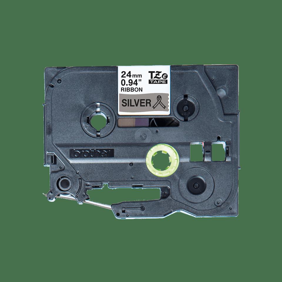 Alkuperäinen Brother TZeR951-satiininauha – musta teksti hopeanvärisellä nauhalla, 24 mm 5