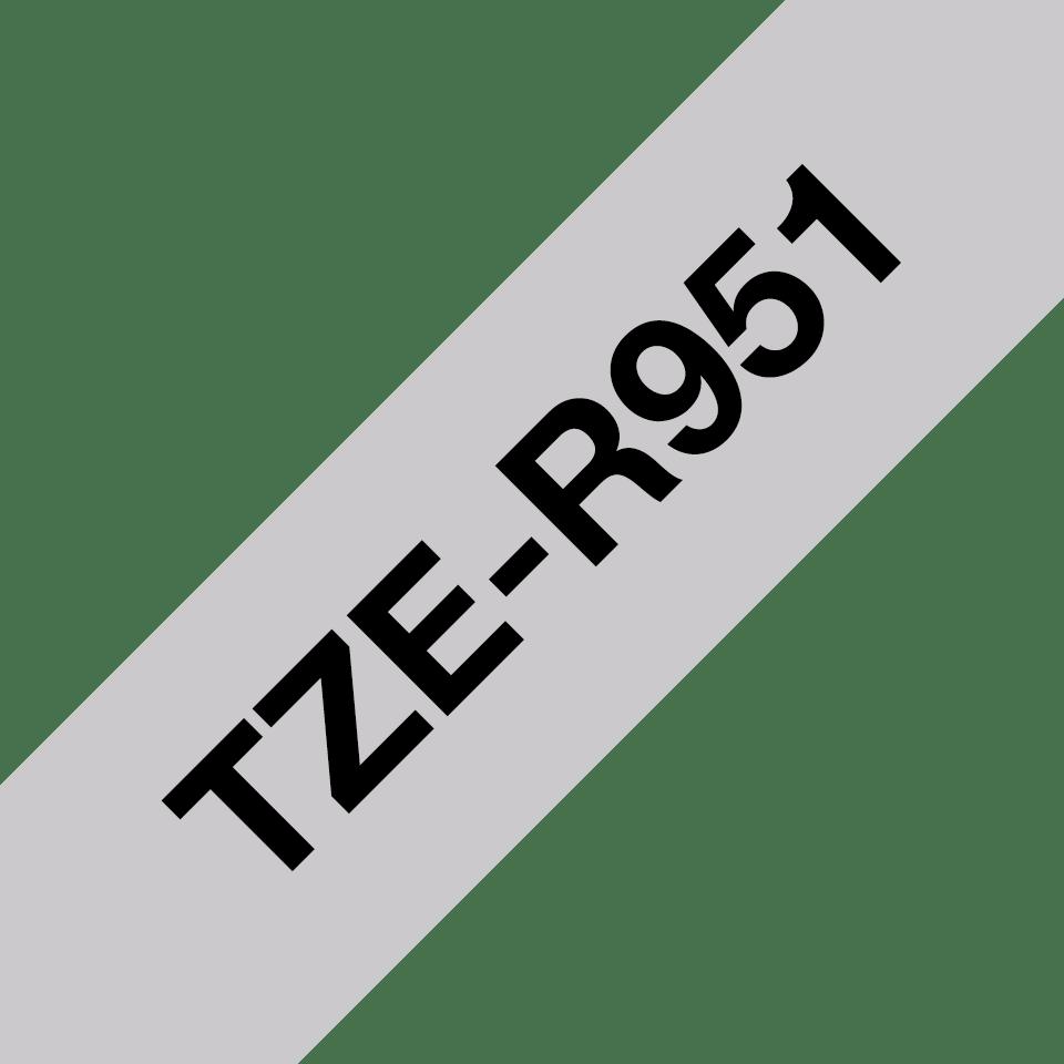 Alkuperäinen Brother TZeR951-satiininauha – musta teksti hopeanvärisellä nauhalla, 24 mm