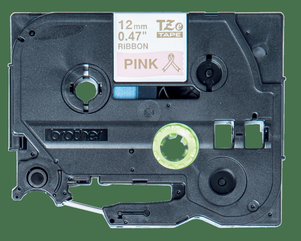 Alkuperäinen Brother TZeRE34 -satiininauha – kullanvärinen teksti pinkillä nauhalla, 12 mm