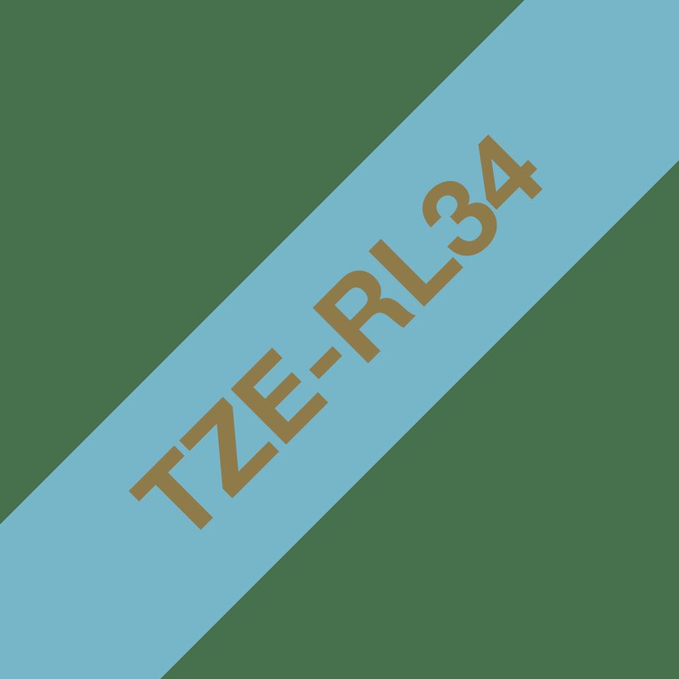 Alkuperäinen Brother TZeRL34 -satiininauha – kullanvärinen teksti vaaleansinisellä nauhalla, 12 mm