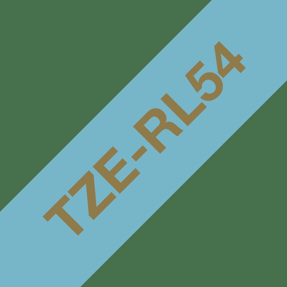 Alkuperäinen Brother TZeRL54 -satiininauha - kullanvärinen teksti vaaleansinisellä nauhalla, 24 mm