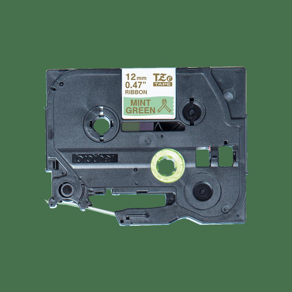 Alkuperäinen Brother TZeRM34 -satiininauha – kullanvärinen teksti mintunvihreällä nauhalla, 12 mm 3