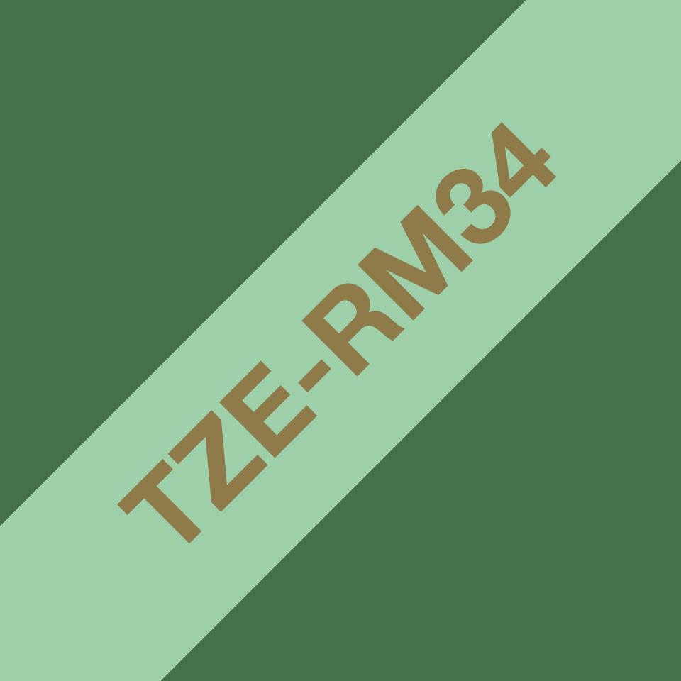 Alkuperäinen Brother TZeRM34 -satiininauha – kullanvärinen teksti mintunvihreällä nauhalla, 12 mm