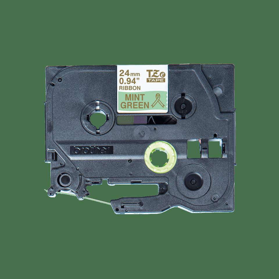Alkuperäinen Brother TZeRM54 -satiininauha – kullanvärinen teksti mintunvihreällä nauhalla, 24 mm 4