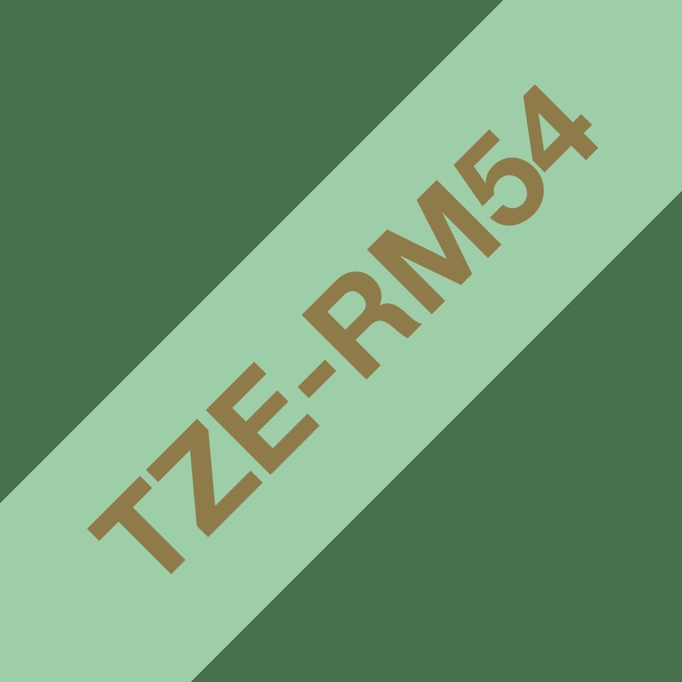 Alkuperäinen Brother TZeRM54 -satiininauha – kullanvärinen teksti mintunvihreällä nauhalla, 24 mm