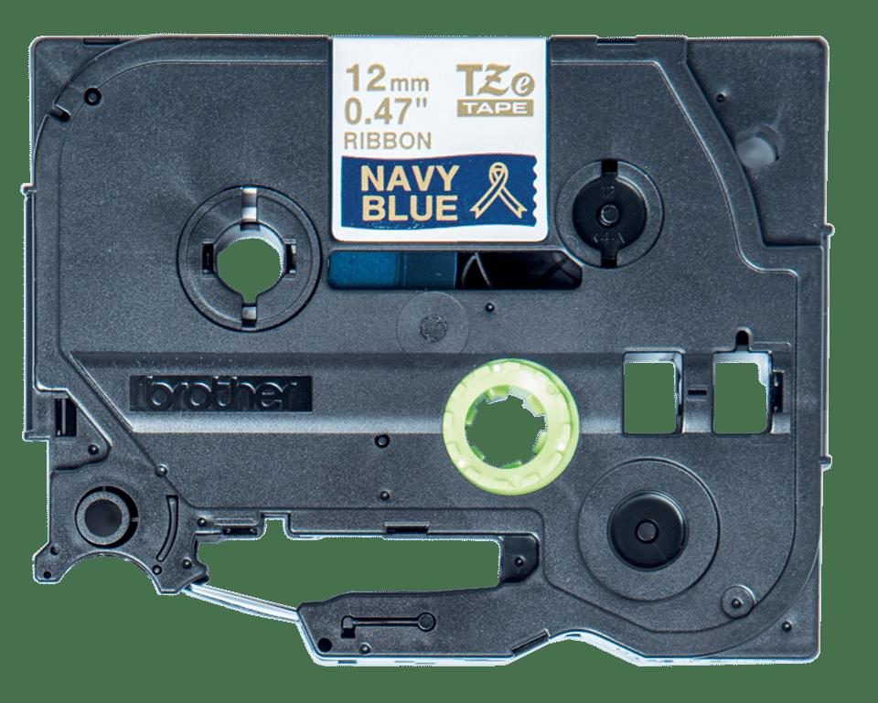 Alkuperäinen Brother TZeRN34 -satiininauha – kullanvärinen teksti laivastonsinisellä pohjalla, 12 mm 3