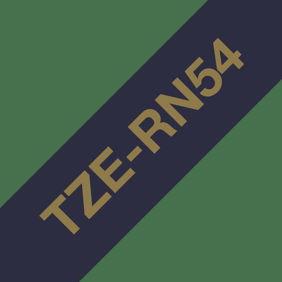 Alkuperäinen Brother TZeRN54 -satiininauha – kullanvärinen teksti laivastonsinisellä nauhalla, 24 mm