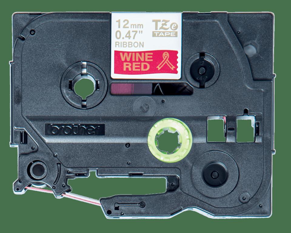 Alkuperäinen Brother TZeRW34 -satiininauha – kullanvärinen teksti viininpunaisella pohjalla, 12 mm 2