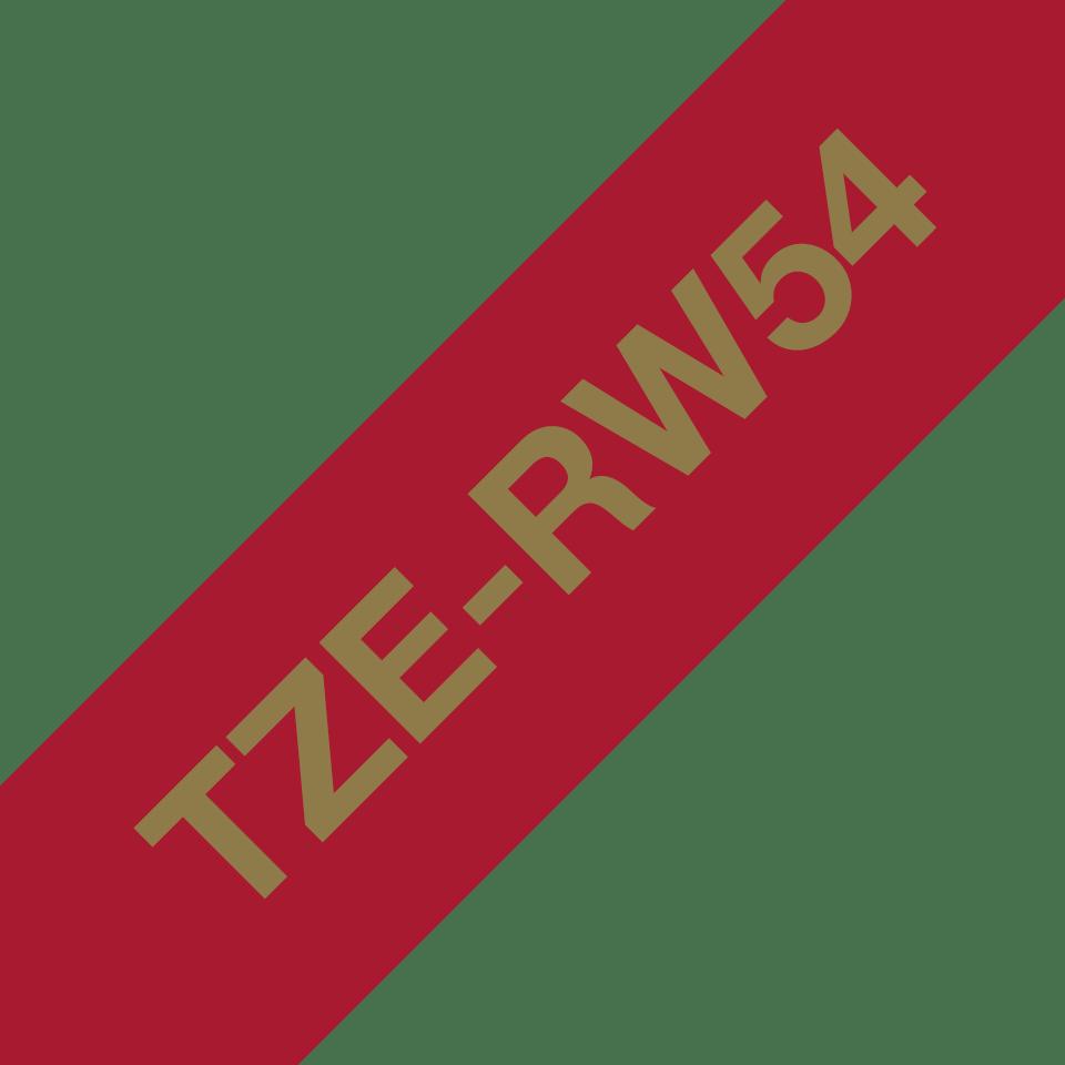 Alkuperäinen Brother TZeRW54 -satiininauha – kullanvärinen teksti viininpunaisella nauhalla, 24 mm