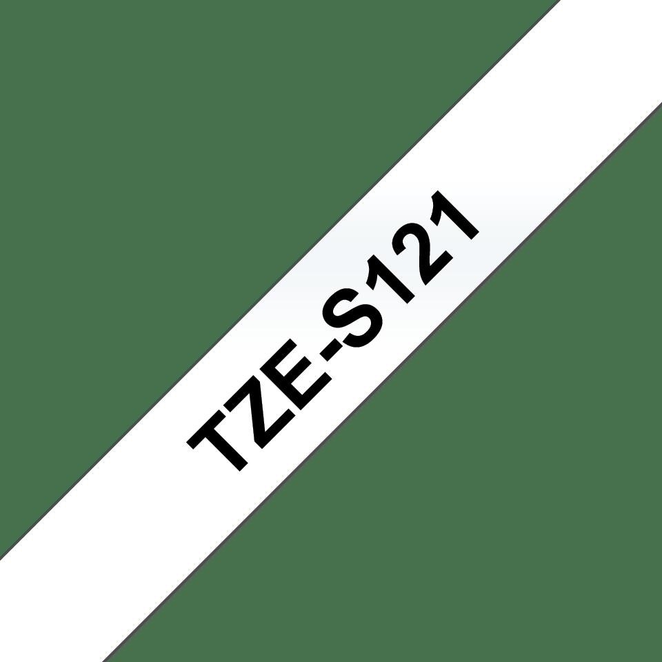 Alkuperäinen Brother TZeS121 -lujasti kiinnittyvä tarranauha – musta teksti/kirkas pohja - 9 mm
