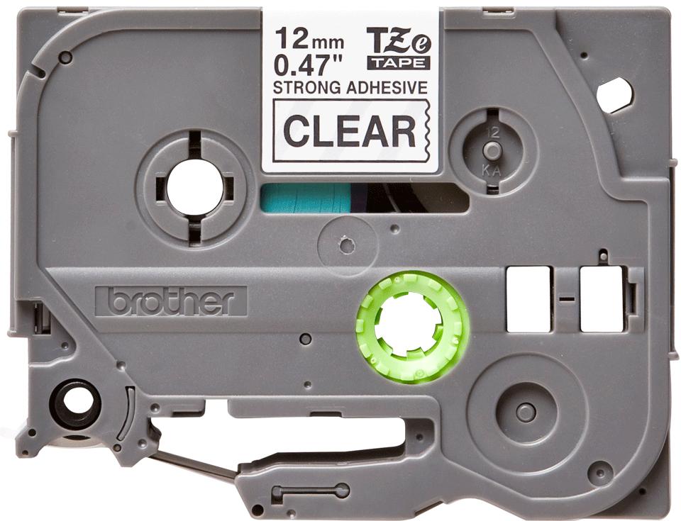 Brotherin alkuperäinen lujasti kiinnittyvä TZeS131-tarranauha – musta teksti/kirkas pohja, 12 mm