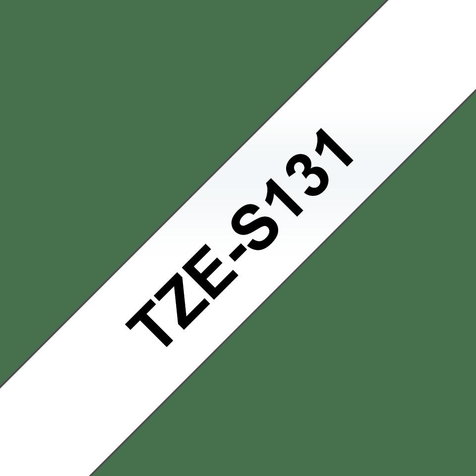 Alkuperäinen Brother TZeS131 -lujasti kiinnittyvä tarranauha – musta teksti/kirkas pohja, 12 mm  3