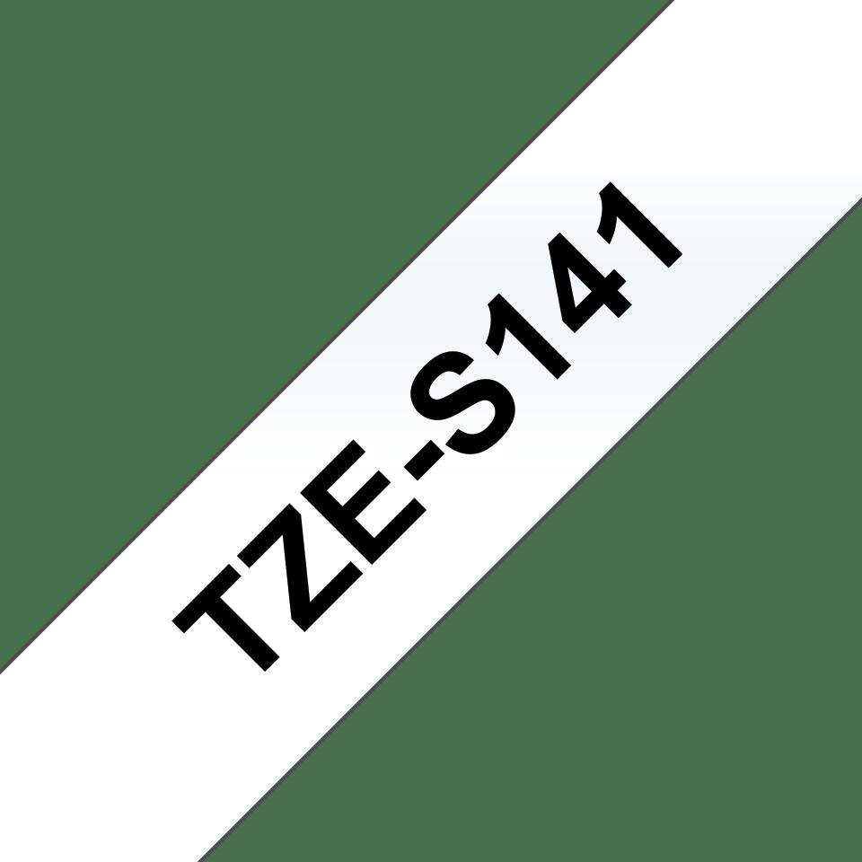 Alkuperäinen Brother TZeS141 -lujasti kiinnittyvä tarranauha – musta teksti/kirkas pohja, 18 mm  3