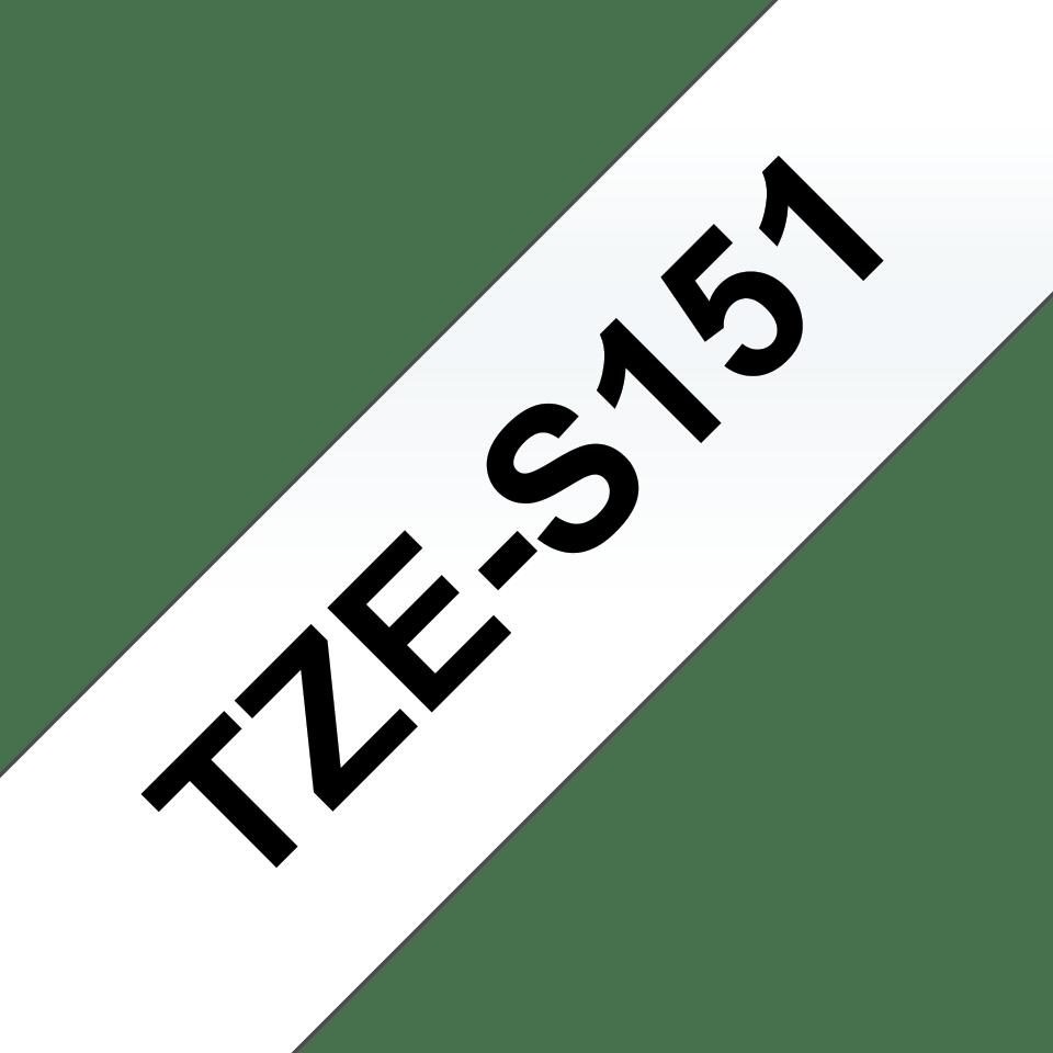 Alkuperäinen Brother TZeS151 -lujasti kiinnittyvä tarranauha – musta teksti/kirkas pohja, 24 mm