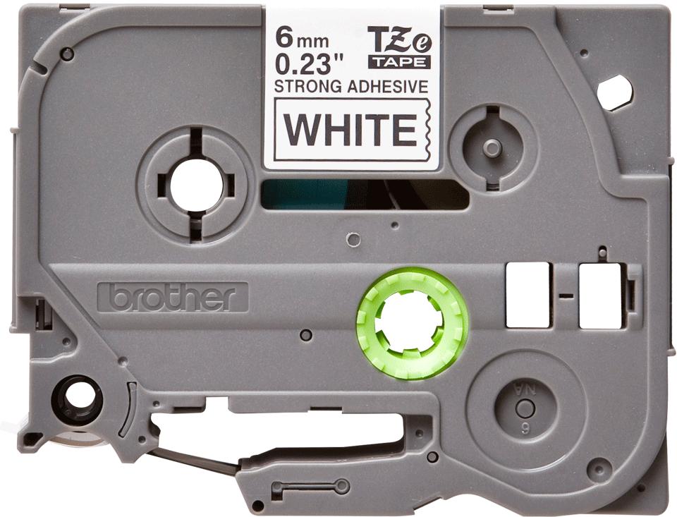 Alkuperäinen Brother TZeS211 -lujasti kiinnittyvä tarranauha – musta teksti/valkoinen pohja, 6 mm  2