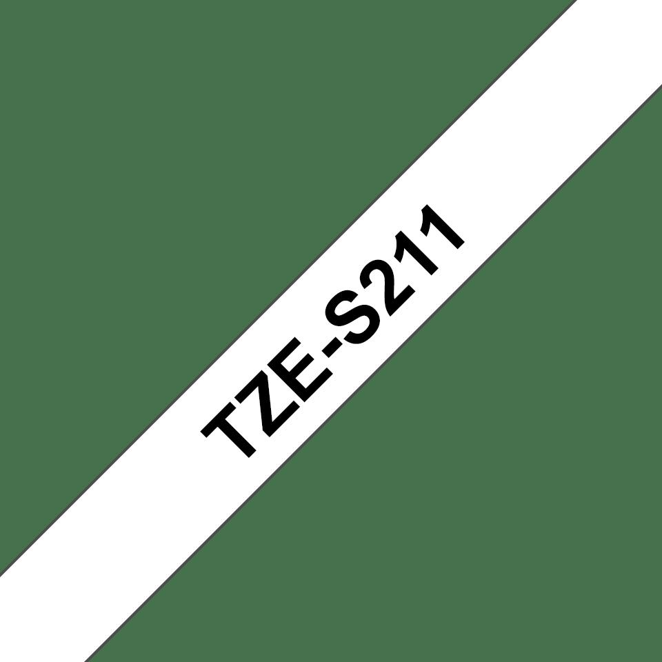 Alkuperäinen Brother TZeS211 -lujasti kiinnittyvä tarranauha – musta teksti/valkoinen pohja, 6 mm  3
