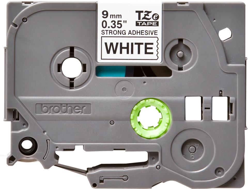 Brotherin alkuperäinen lujasti kiinnittyvä TZeS221-tarranauha, musta teksti/valkoinen pohja, 9 mm
