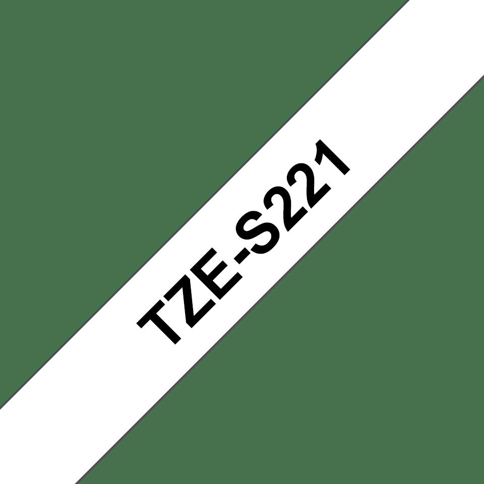 Alkuperäinen Brother TZeS221 -lujasti kiinnittyvä tarranauha – musta teksti/valkoinen pohja, 9 mm