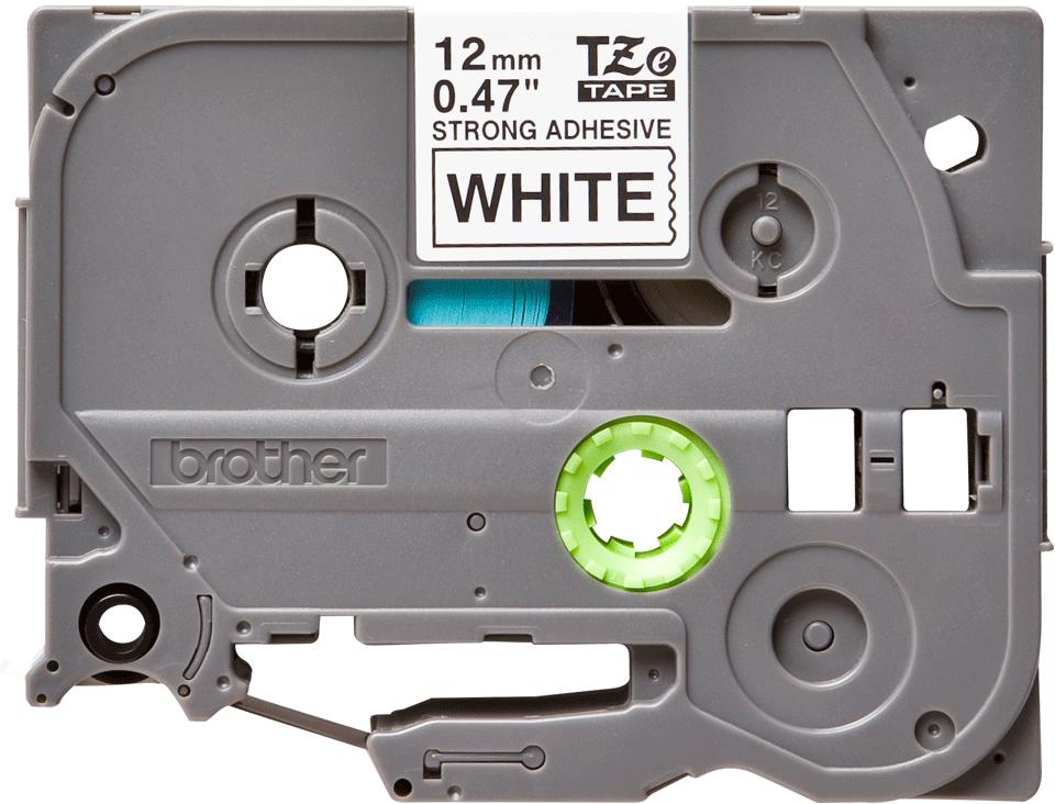 Alkuperäinen Brother TZeS231 -lujasti kiinnittyvä tarranauha – musta teksti/valkoinen pohja, 12 mm