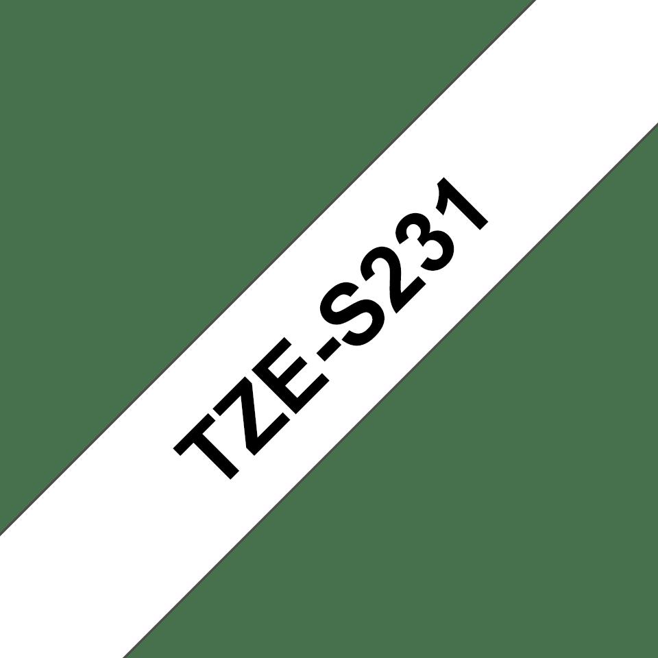 Brotherin alkuperäinen lujasti kiinnittyvä TZeS231-tarranauha, musta teksti/valkoinen pohja, 12 mm 3