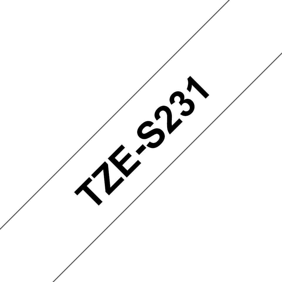 Alkuperäinen Brother TZeS231 -lujasti kiinnittyvä tarranauha – musta teksti/valkoinen pohja, 12 mm 3