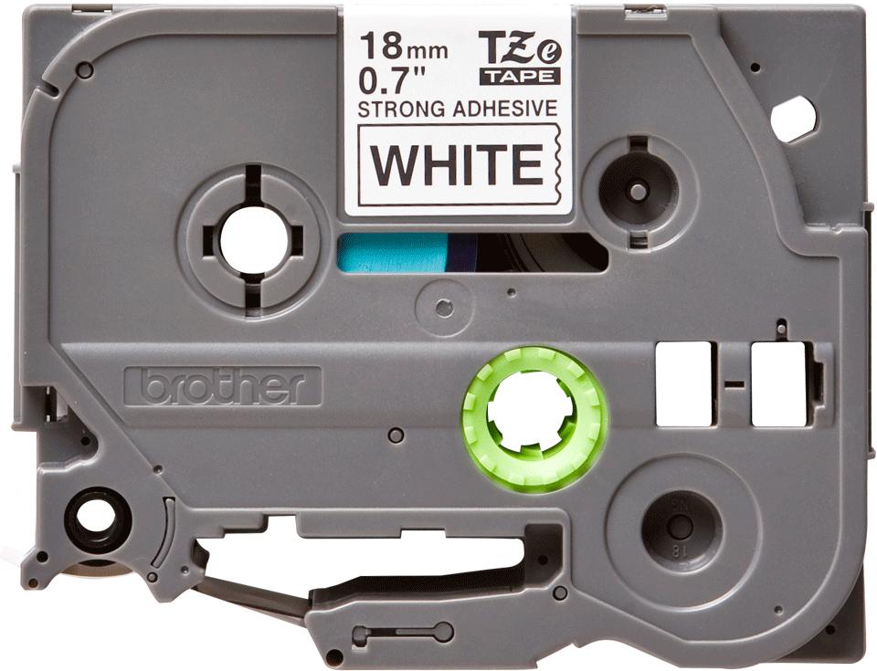 Brotherin alkuperäinen lujasti kiinnittyvä TZeS241-tarranauha, musta teksti/valkoinen pohja, 18 mm  2