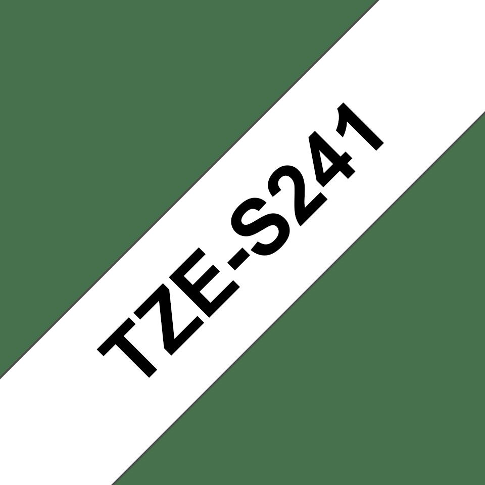 Brotherin alkuperäinen lujasti kiinnittyvä TZeS241-tarranauha, musta teksti/valkoinen pohja, 18 mm