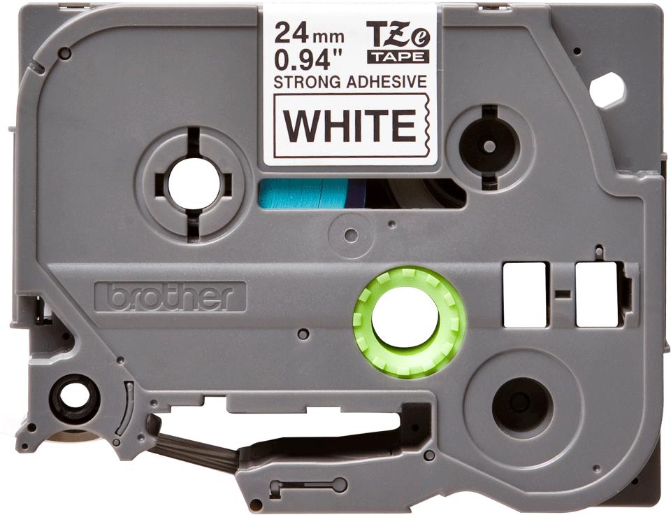 Alkuperäinen Brother TZeS251 -lujasti kiinnittyvä tarranauha – musta teksti/valkoinen pohja, 24 mm 2