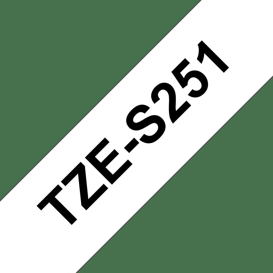 Alkuperäinen Brother TZeS251 -lujasti kiinnittyvä tarranauha – musta teksti/valkoinen pohja, 24 mm