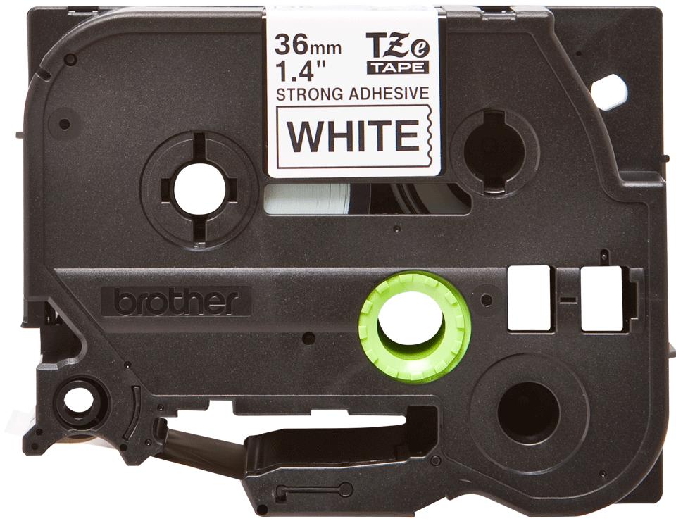 Brotherin alkuperäinen lujasti kiinnittyvä TZeS261-tarranauha, musta teksti/valkoinen pohja, 36 mm
