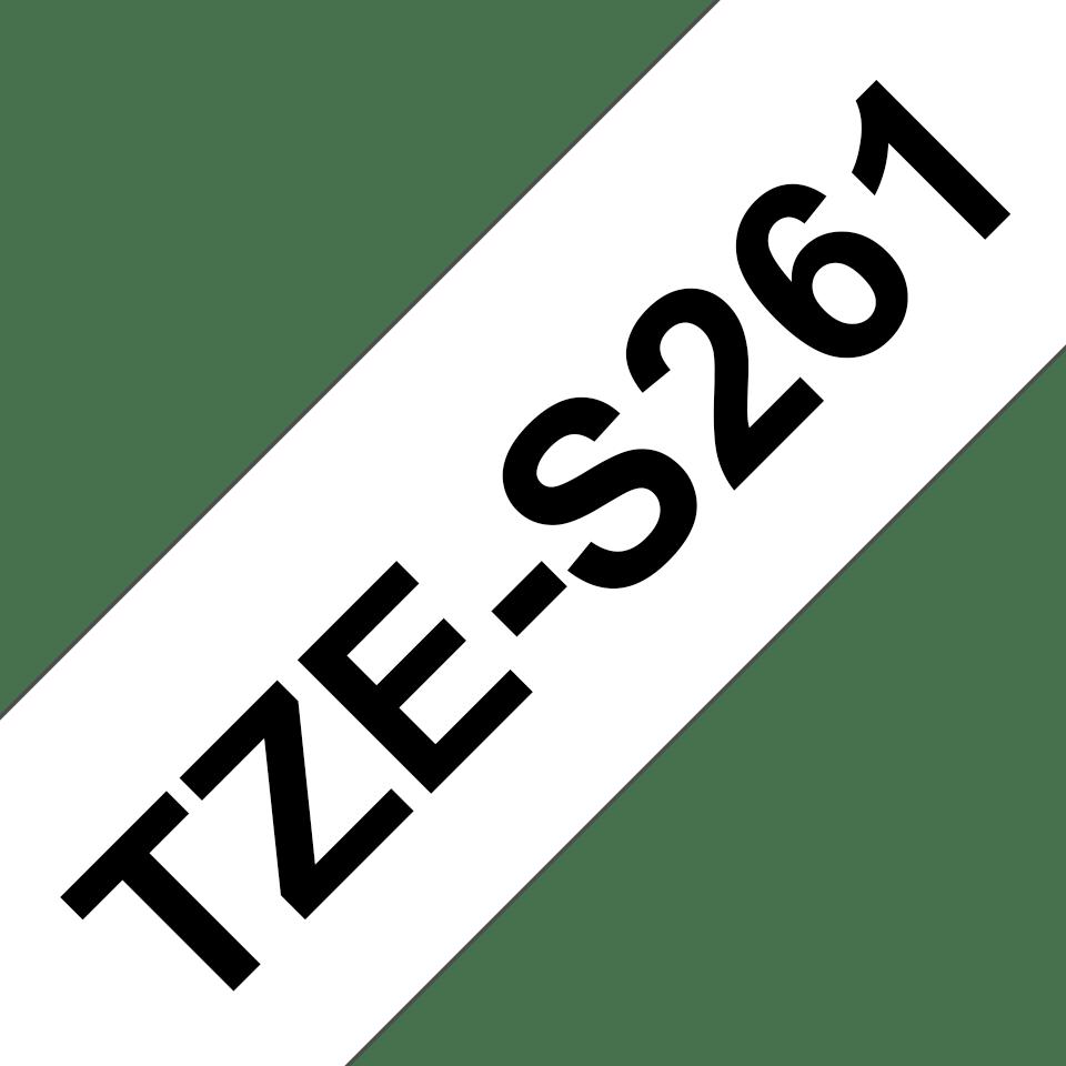 Alkuperäinen Brother TZeS261 -lujasti kiinnittyvä tarranauha – musta teksti/valkoinen pohja, 36 mm