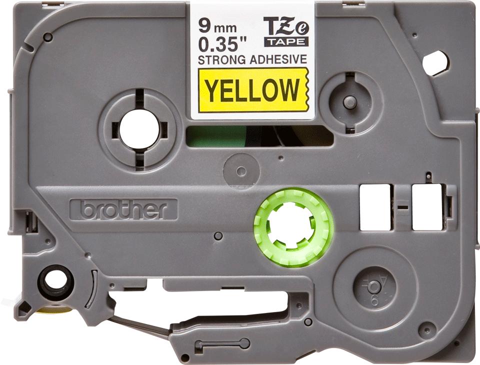 Brotherin alkuperäinen lujasti kiinnittyvä TZeS621-tarranauha, musta teksti/keltainen pohja, 9 mm