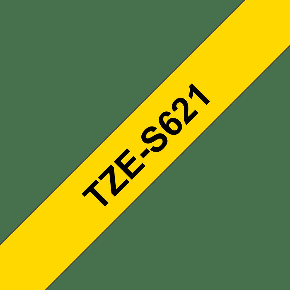 Alkuperäinen Brother TZeS621 -lujasti kiinnittyvä tarranauha – musta teksti/keltainen pohja, 9 mm