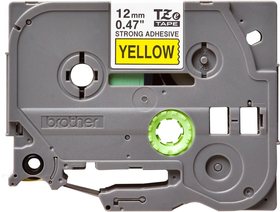 Brotherin alkuperäinen lujasti kiinnittyvä TZeS631-tarranauha, musta teksti/keltainen pohja, 12 mm