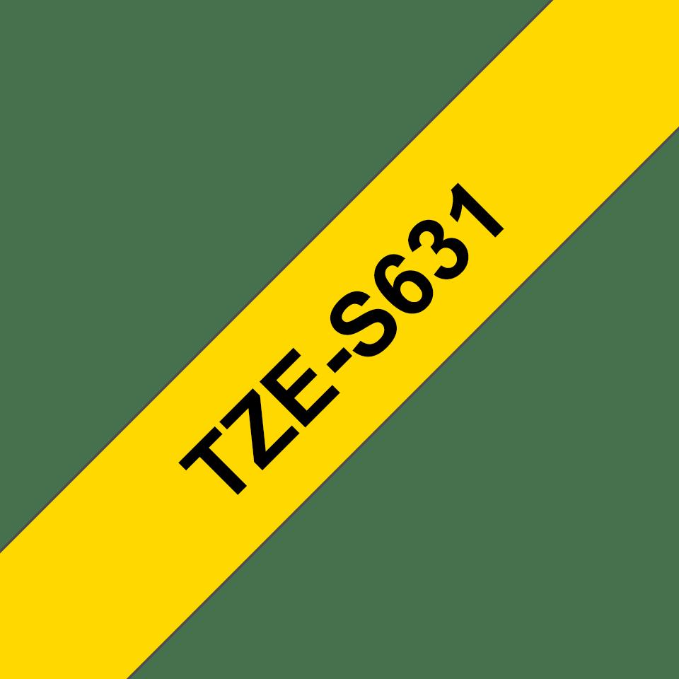 Brotherin alkuperäinen lujasti kiinnittyvä TZeS631-tarranauha, musta teksti/keltainen pohja, 12 mm  3
