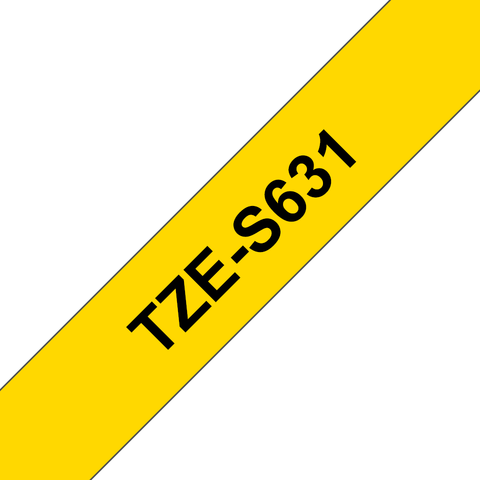 Alkuperäinen Brother TZeS631 -lujasti kiinnittyvä tarranauha – musta teksti/keltainen pohja, 12 mm