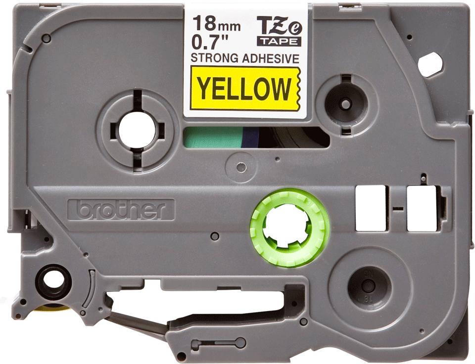Brotherin alkuperäinen lujasti kiinnittyvä TZeS641-tarranauha, musta teksti/keltainen pohja, 18 mm
