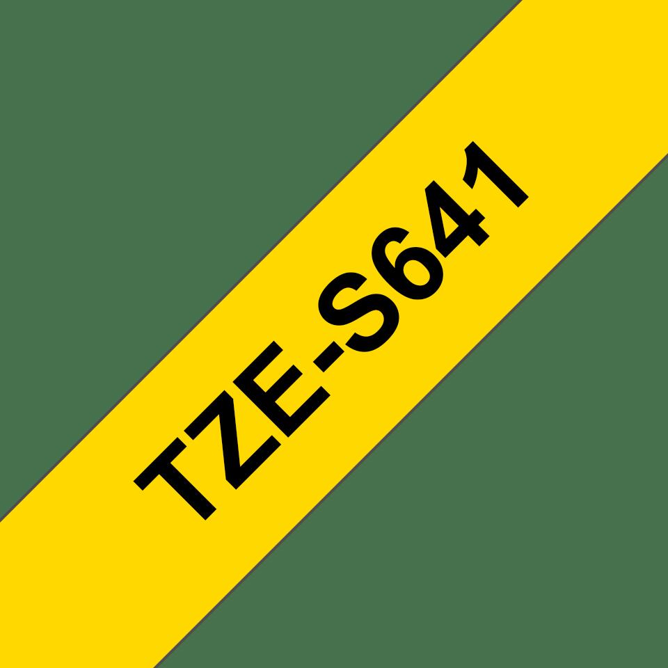 Alkuperäinen Brother TZeS641 -lujasti kiinnittyvä tarranauha – musta teksti/keltainen pohja, 18 mm