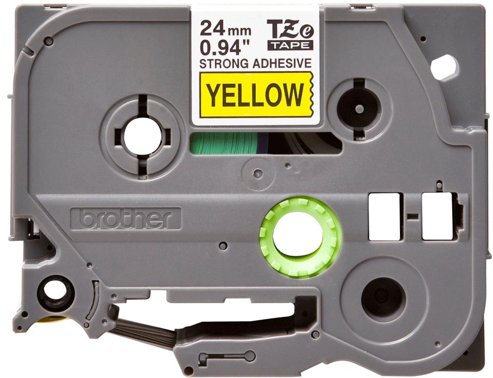 Alkuperäinen Brother TZeS651 -lujasti kiinnittyvä tarranauha – musta teksti/keltainen pohja, 24 mm