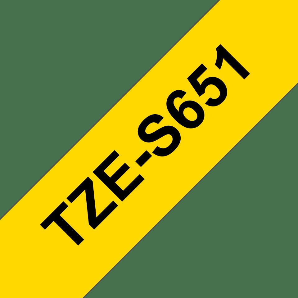 Alkuperäinen Brother TZeS651 -lujasti kiinnittyvä tarranauha – musta teksti/keltainen pohja, 24 mm 3