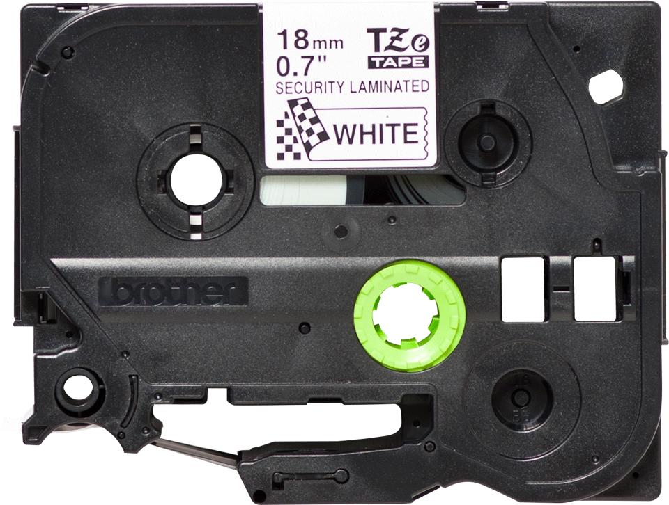 Alkuperäinen laminoitu Brother TZeSE4 -turvatarra, musta teksti valkoisella pohjalla, leveys 18 mm.