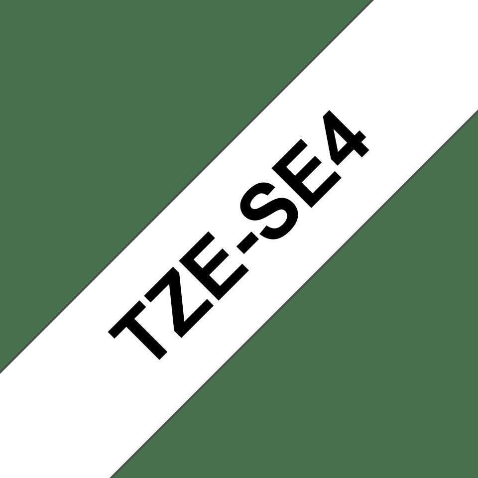 Alkuperäinen laminoitu Brother TZeSE4 -turvatarra, musta teksti valkoisella pohjalla, leveys 18 mm. 3
