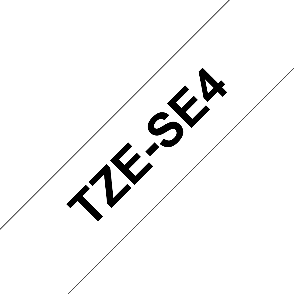 Alkuperäinen Brother TZeSE4 -turvatarra – musta teksti valkoisella pohjalla, 18 mm. 2